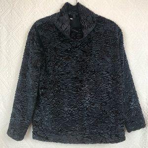 topshop- black fur ribbed pattern lined mock neck